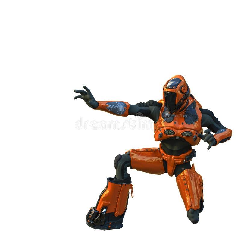 Astronauta en arround de exploración del traje anaranjado del exo stock de ilustración