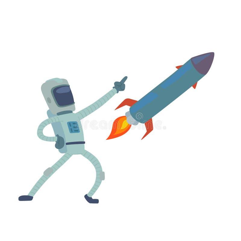 Astronauta en el carácter del vector de espacio que tiene el viajero de la fantasía del sistema de la astronáutica de la atmósfer ilustración del vector