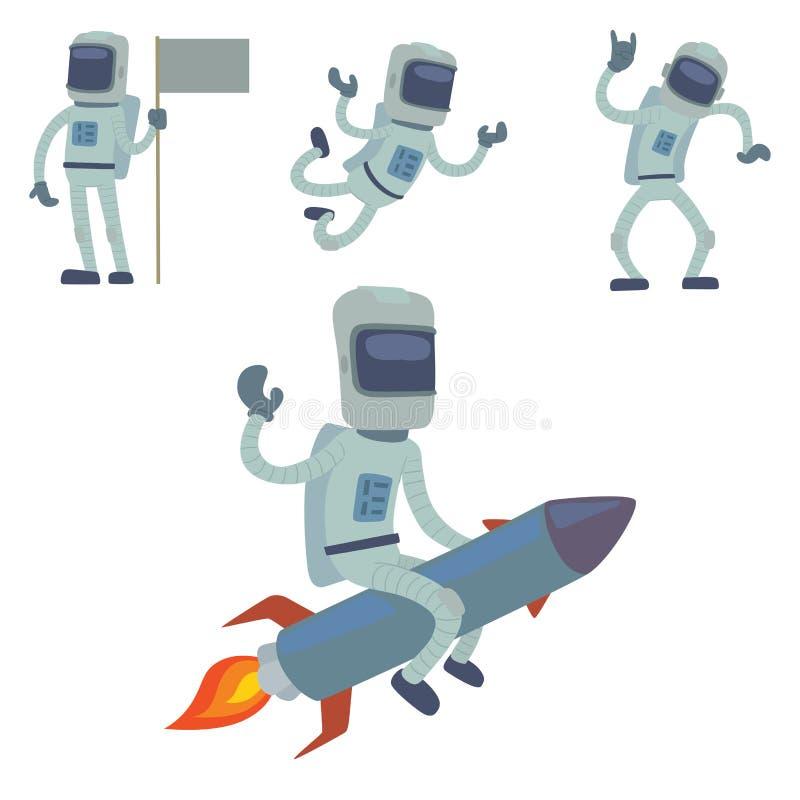 Astronauta en el carácter del vector de espacio que tiene el viajero de la fantasía del sistema de la astronáutica de la atmósfer libre illustration