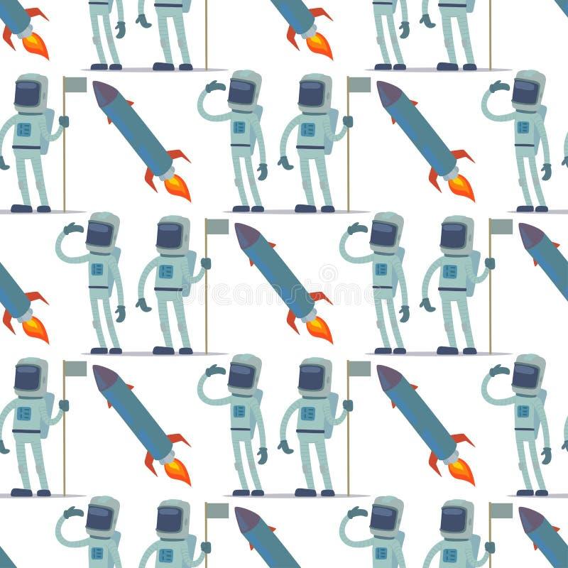 Astronauta en el carácter del vector de espacio que tiene el viajero de la fantasía del sistema de la astronáutica de la atmósfer stock de ilustración