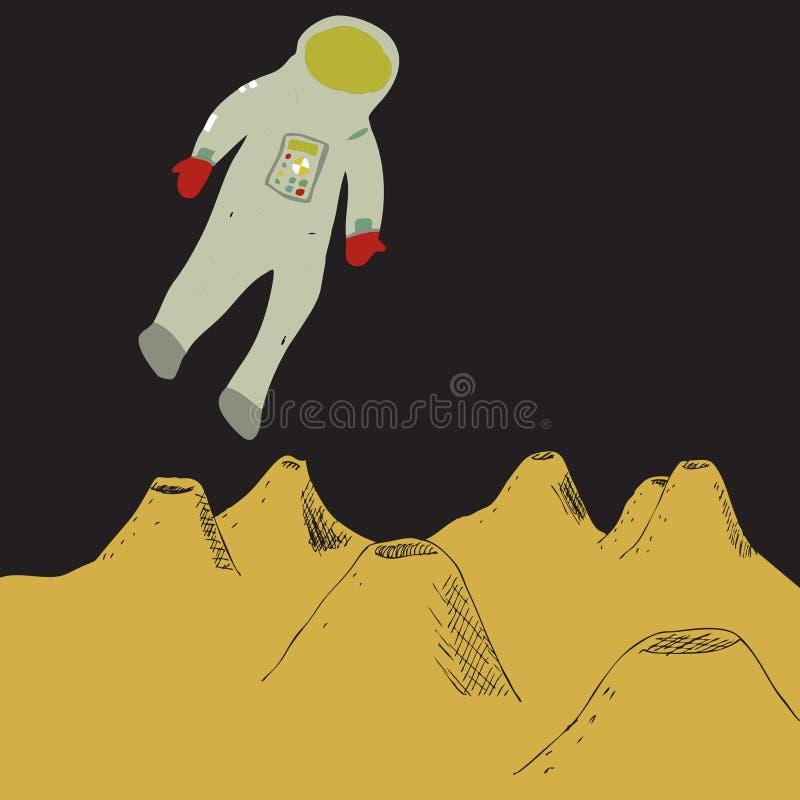Astronauta en espacio stock de ilustración