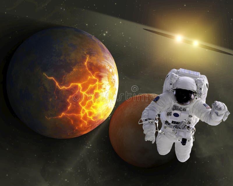 Astronauta en espacio ilustración del vector