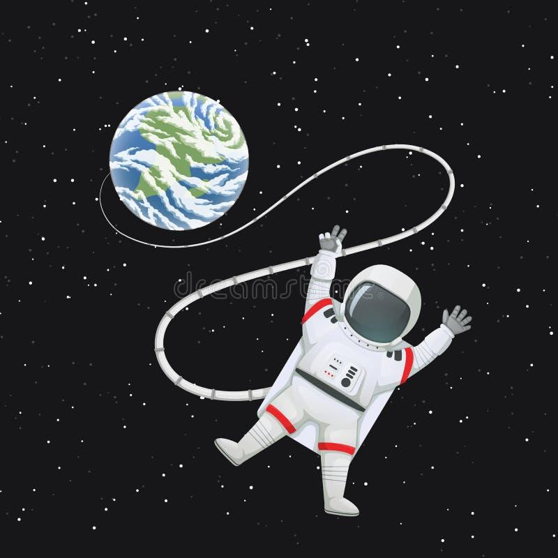 Astronauta en espacio con los miembros en jarras, haciendo la paz o la muestra de v conectada con la tierra libre illustration