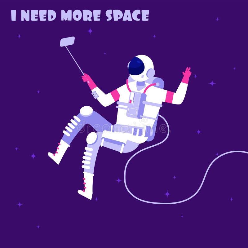 Astronauta en ingrávido Astronauta en espacio exterior Necesito más concepto del vector de la astronáutica del espacio ilustración del vector