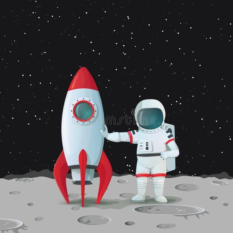 Astronauta en la superficie de la situación de la luna cerca del rocketship y de tocarlo con una mano y con la otra mano en jarra libre illustration