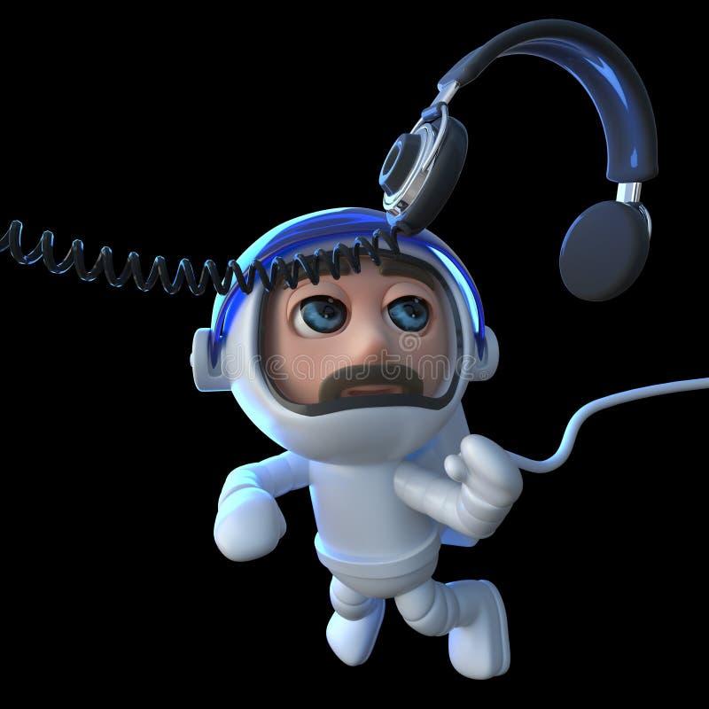 astronauta engraçado do astronauta dos desenhos animados 3d que persegue um par de fones de ouvido no espaço ilustração stock