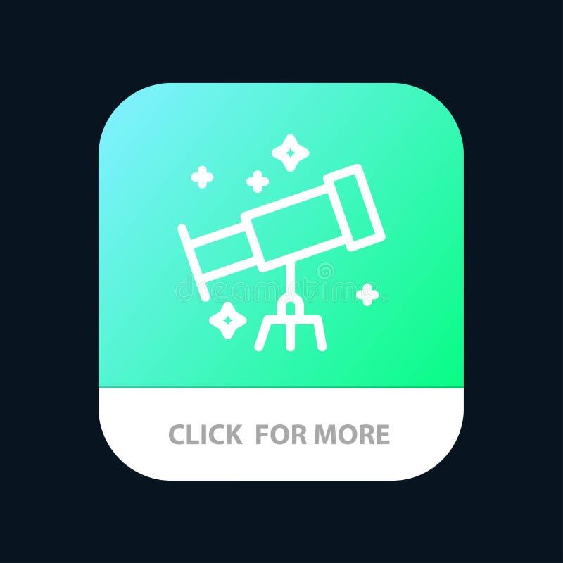 Astronauta, espacio, botón móvil del App del telescopio Android y línea versión del IOS libre illustration