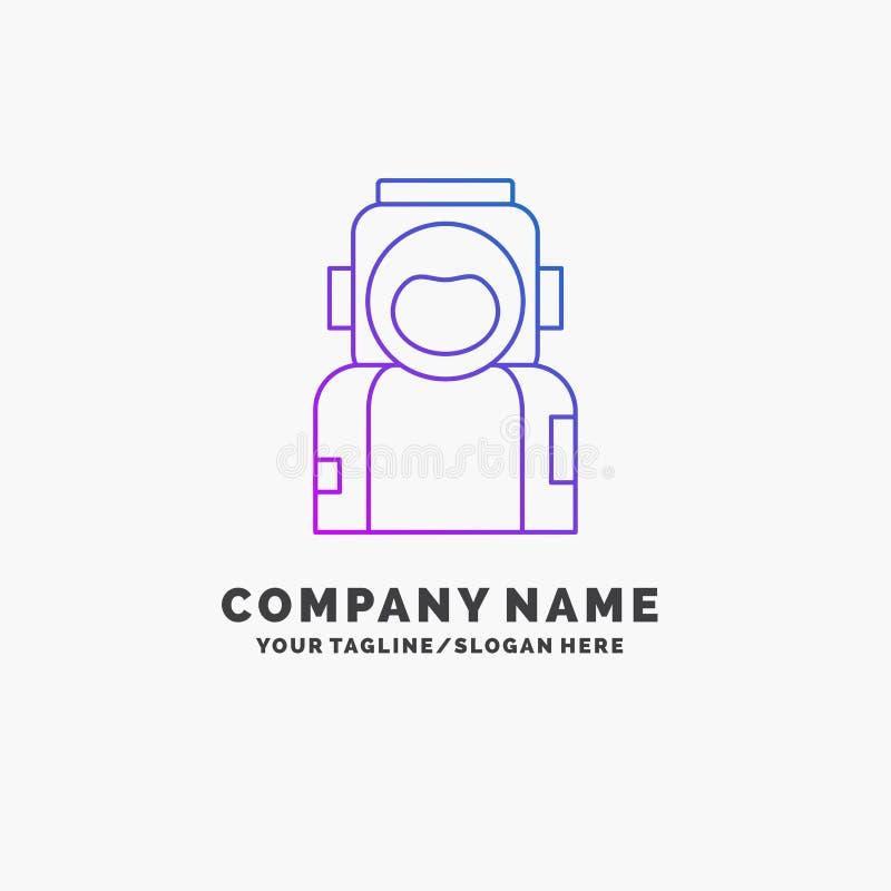 astronauta, espacio, astronauta, casco, negocio púrpura Logo Template del traje Lugar para el Tagline ilustración del vector