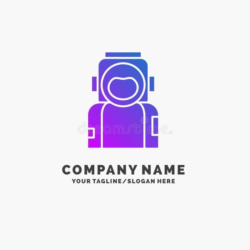 astronauta, espacio, astronauta, casco, negocio p?rpura Logo Template del traje Lugar para el Tagline ilustración del vector
