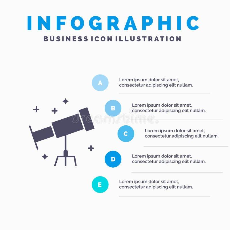 Astronauta, espacio, fondo sólido de la presentación de los pasos de Infographics 5 del icono del telescopio stock de ilustración