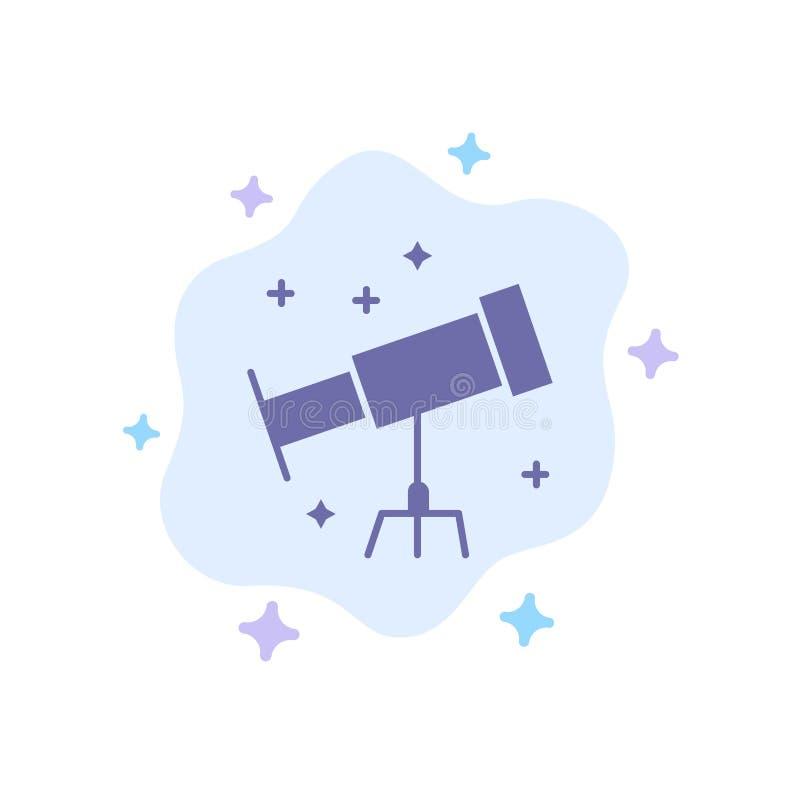 Astronauta, espacio, icono azul del telescopio en fondo abstracto de la nube libre illustration