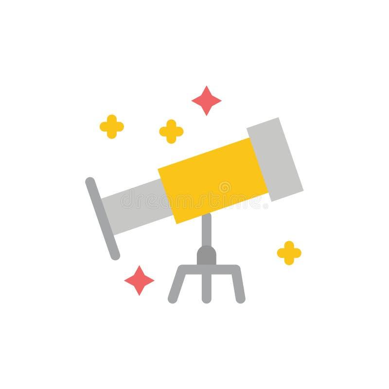 Astronauta, espacio, icono plano del color del telescopio Plantilla de la bandera del icono del vector ilustración del vector