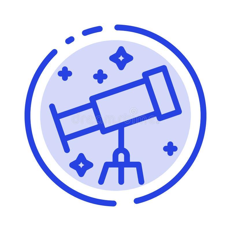 Astronauta, espacio, línea de puntos azul línea icono del telescopio stock de ilustración