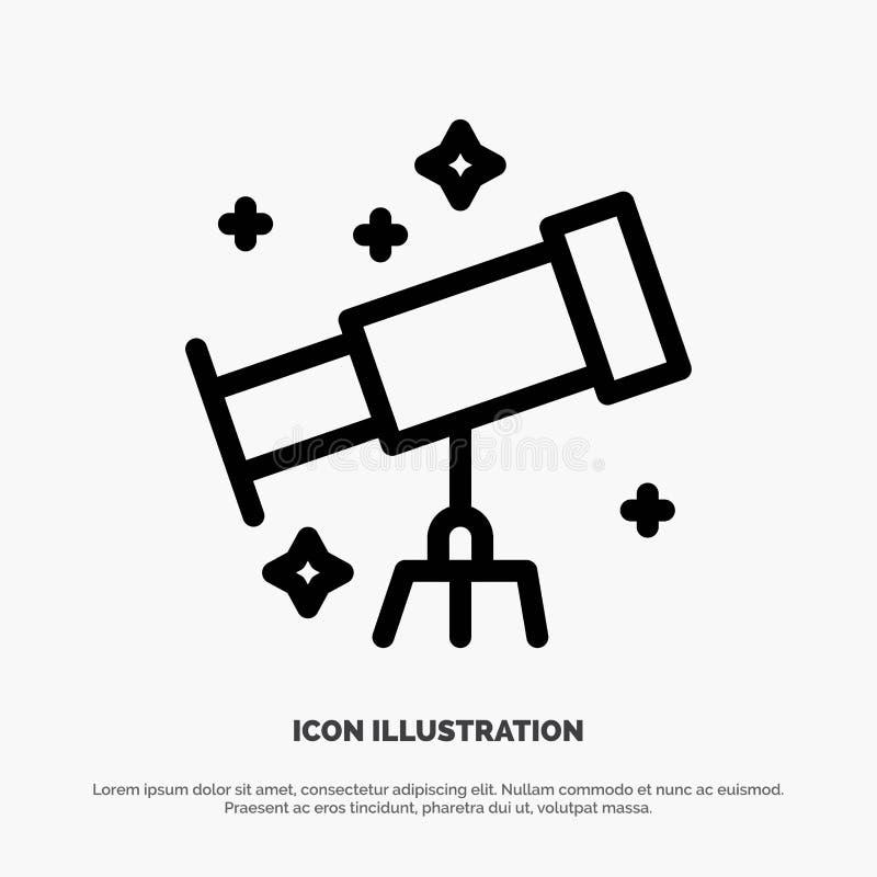 Astronauta, espacio, línea vector del telescopio del icono libre illustration