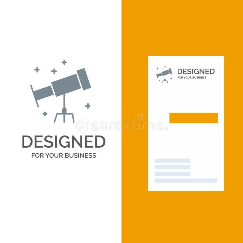 Astronauta, espacio, telescopio Grey Logo Design y plantilla de la tarjeta de visita ilustración del vector