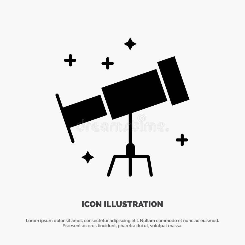 Astronauta, espacio, vector sólido del icono del Glyph del telescopio ilustración del vector