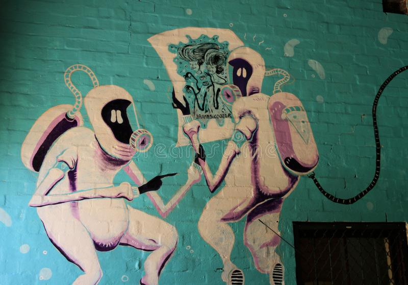 Astronauta extranjero Graffiti fotografía de archivo