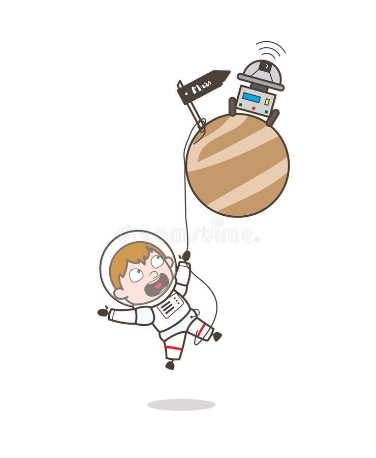 Astronauta Fall-Down ed appendere del fumetto sul concetto di vettore del pianeta di Marte illustrazione di stock