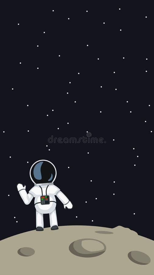 Astronauta falowanie na księżyc royalty ilustracja