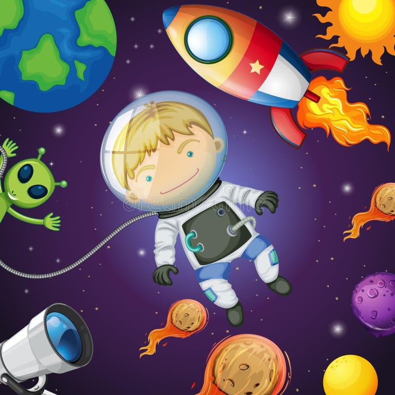 Astronauta feliz en el espacio ilustración del vector