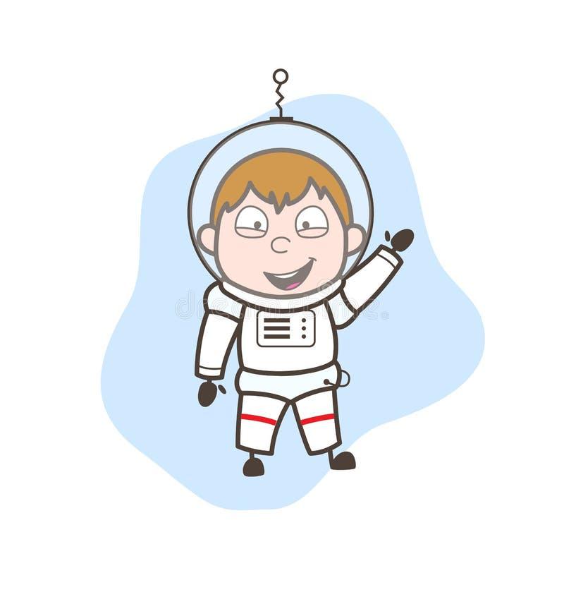 Astronauta feliz Pointing Vector Concept de la historieta stock de ilustración