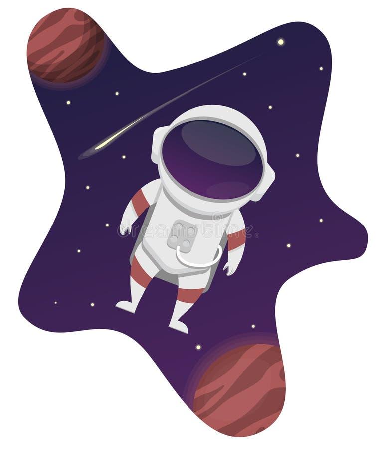 Astronauta Flying em uma galáxia imagens de stock royalty free