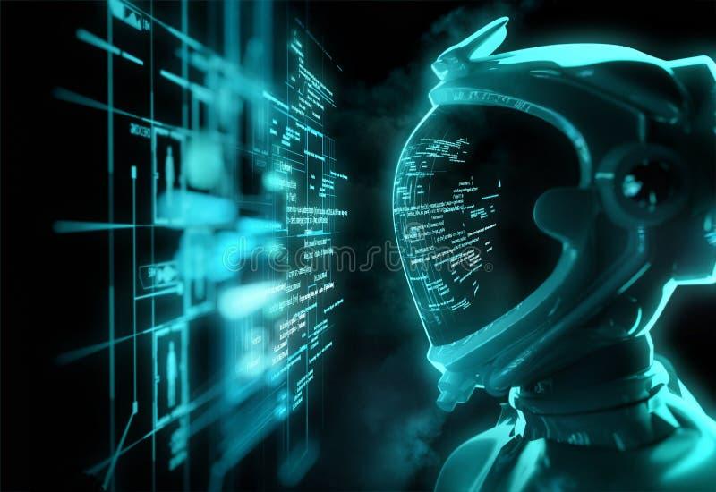 Astronauta futurista - fractura del código foto de archivo