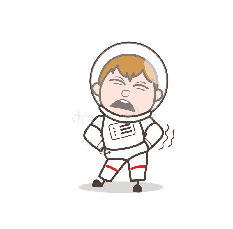 Astronauta Getting Ache de la historieta en el ejemplo del vector de la cintura libre illustration