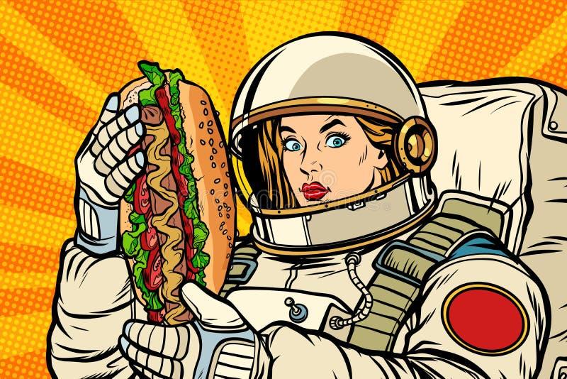 Astronauta hambriento de la mujer con el perrito caliente libre illustration