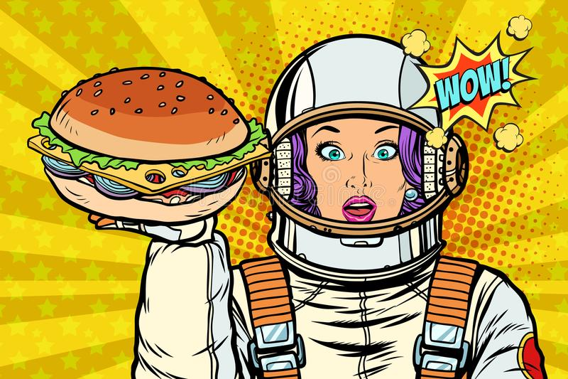Astronauta hambriento de la mujer con la hamburguesa ilustración del vector