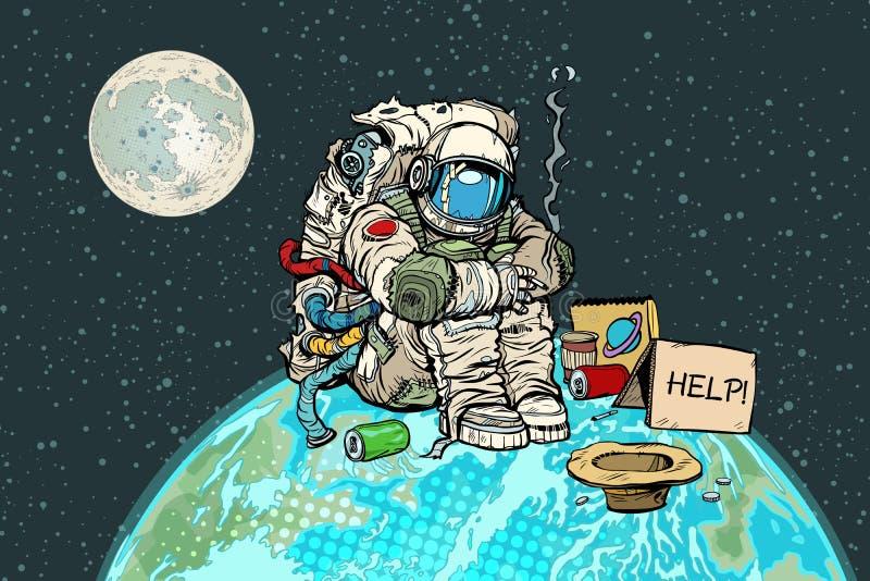 Astronauta hambriento pobre en la tierra del planeta libre illustration