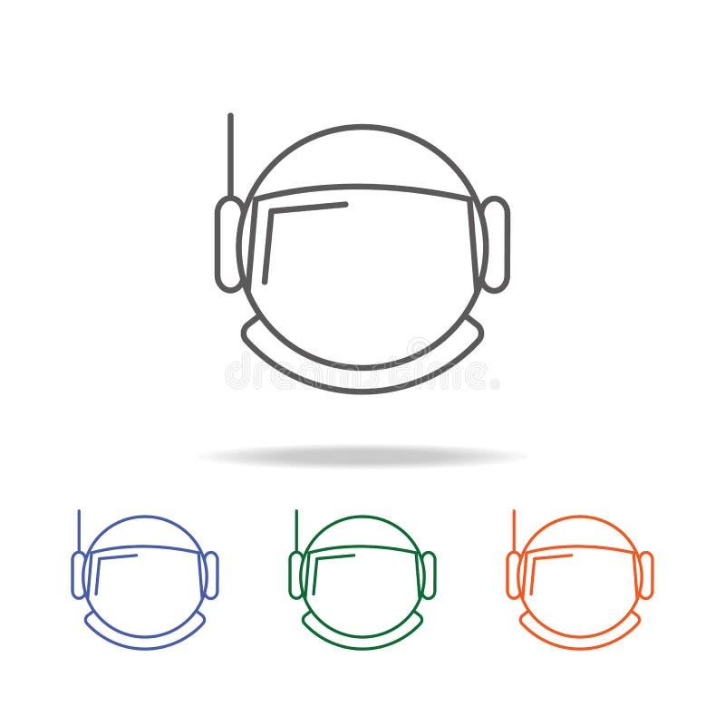 astronauta hełma ikona Element astronautyczna wielo- barwiona ikona dla mobilnych pojęcia i sieci apps Cienka kreskowa ikona dla  royalty ilustracja