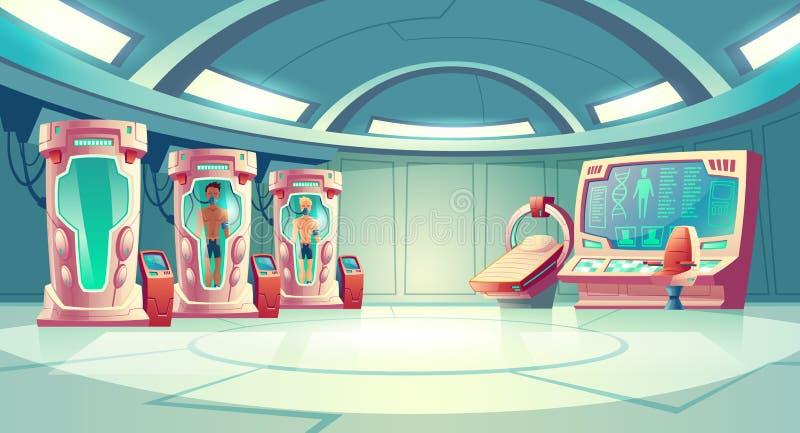 Astronauta hibernacji sen kreskówki wektoru pojęcie ilustracja wektor