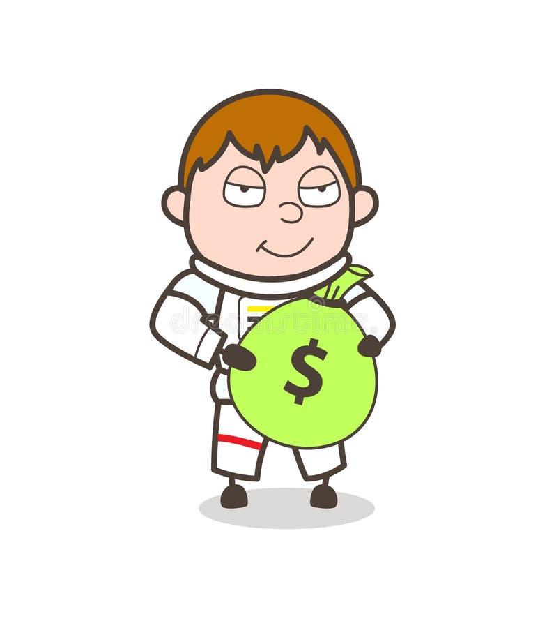 Astronauta Holding de la historieta un ejemplo del vector del paquete del dinero stock de ilustración