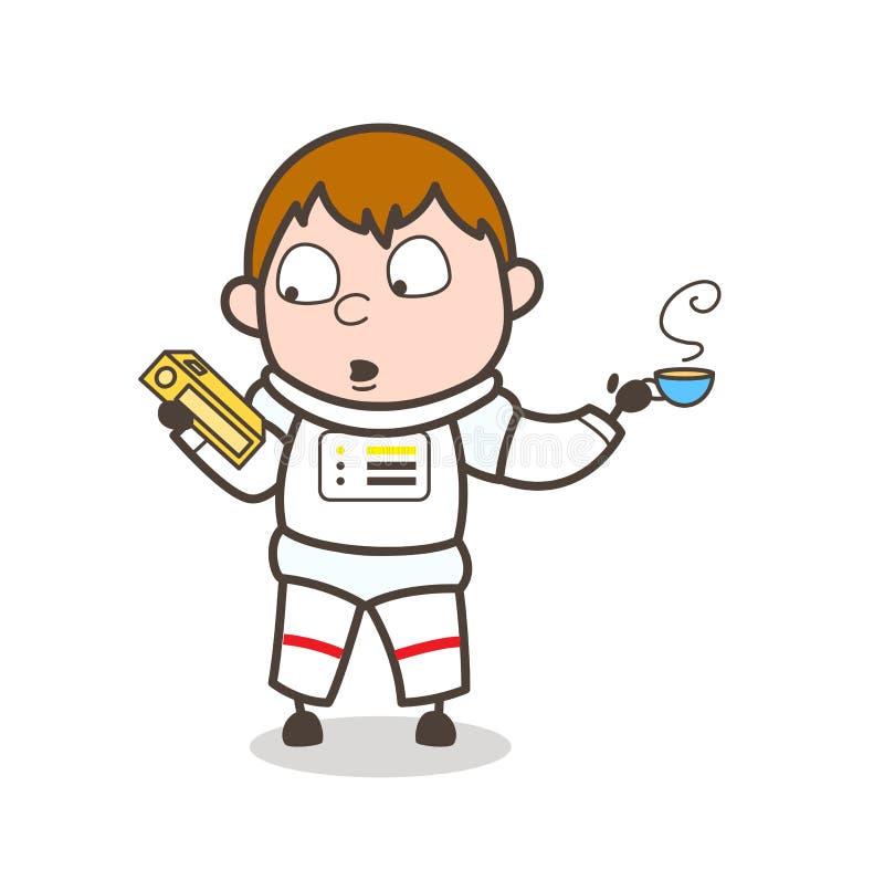 Astronauta Holding de la historieta un libro y consumición de un ejemplo caliente del vector del té ilustración del vector
