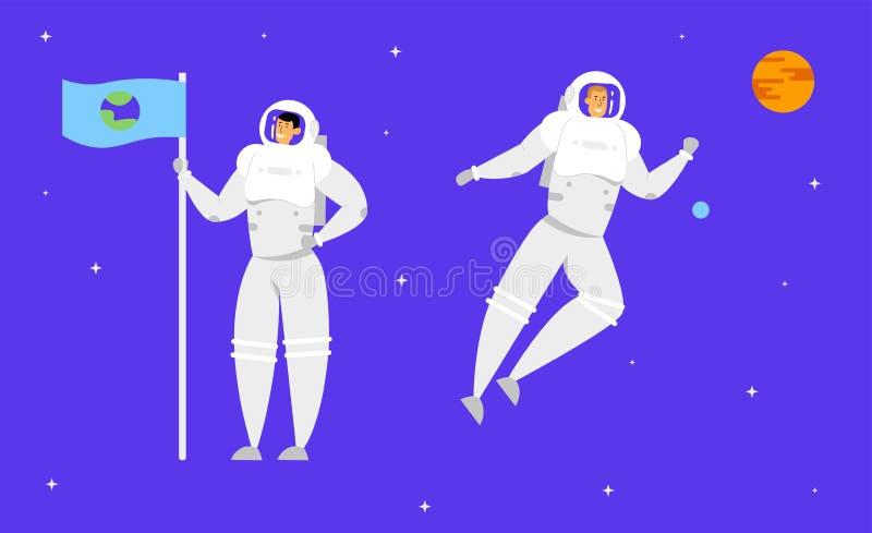 Astronauta Holding Flag con l'immagine della terra sul fondo blu scuro stellato del cielo con il pianeta arancio Esplorazione di  royalty illustrazione gratis