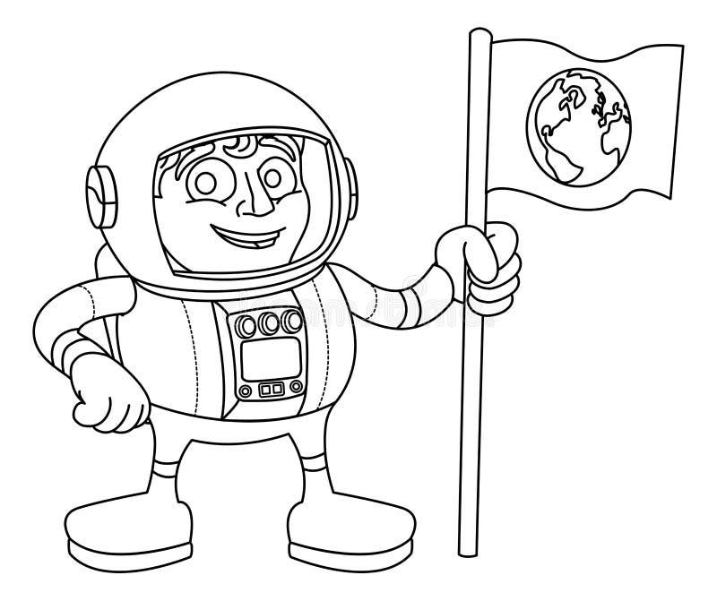 Astronauta Holding Flag dos desenhos animados do homem do espaço ilustração do vetor