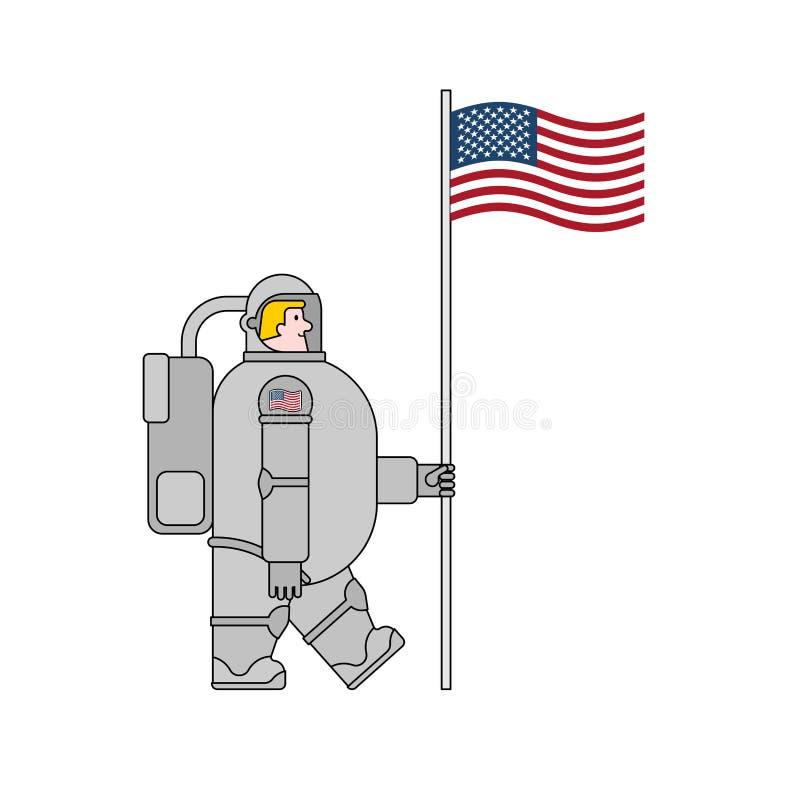 Astronauta i flaga usa Kosmonauta robić w Ameryka kosmita Vect ilustracji