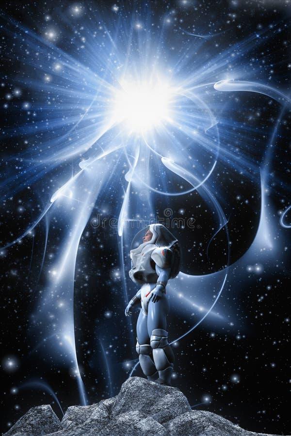 Astronauta i gwiazda ilustracji