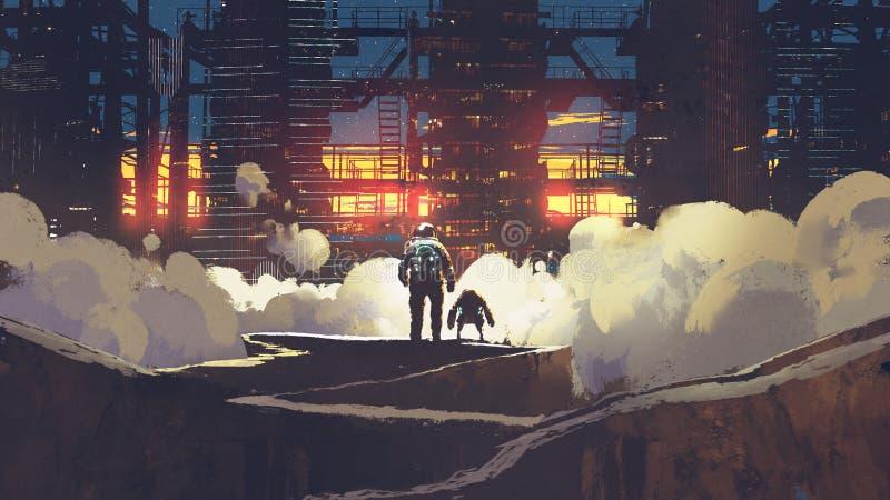 Astronauta i mały robot patrzeje futurystycznego miasto ilustracja wektor
