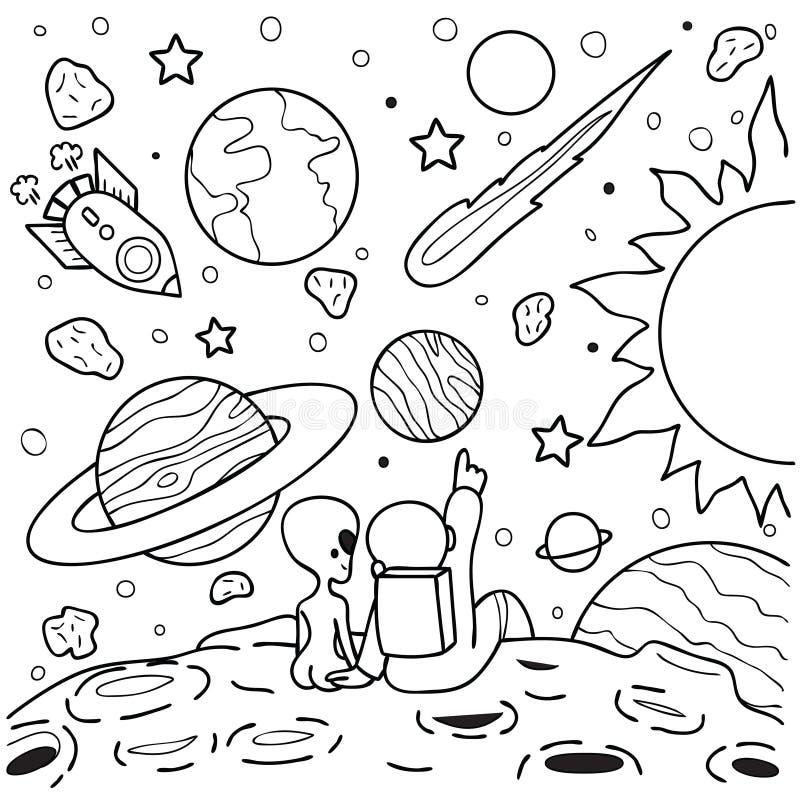 Astronauta i obcego dziewczyny obsiadanie dalej mąci oglądać mknącą gwiazdę, projekt dla projekta elementu i kolorystyki książki  ilustracja wektor