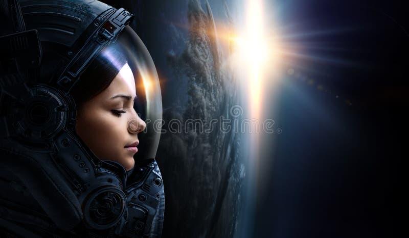 Astronauta i planeta, istota ludzka w astronautycznym poj?ciu obrazy royalty free