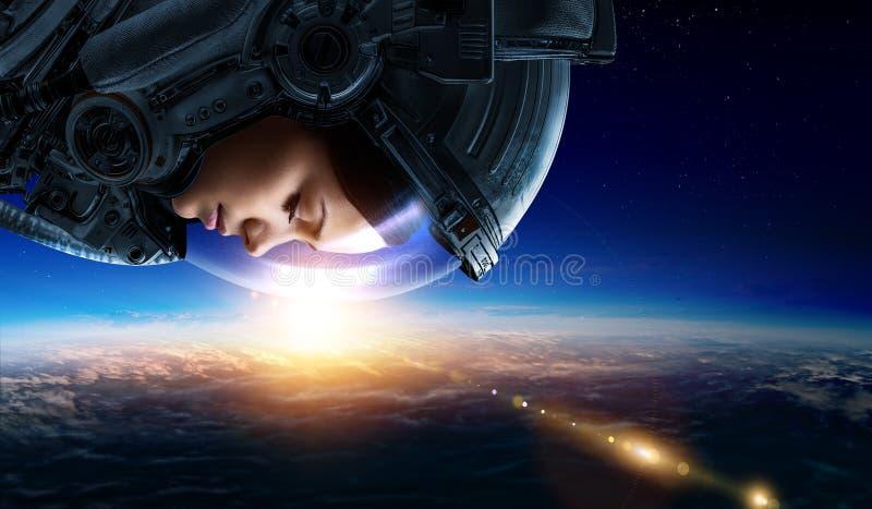 Astronauta i planeta, istota ludzka w astronautycznym poj?ciu zdjęcie royalty free
