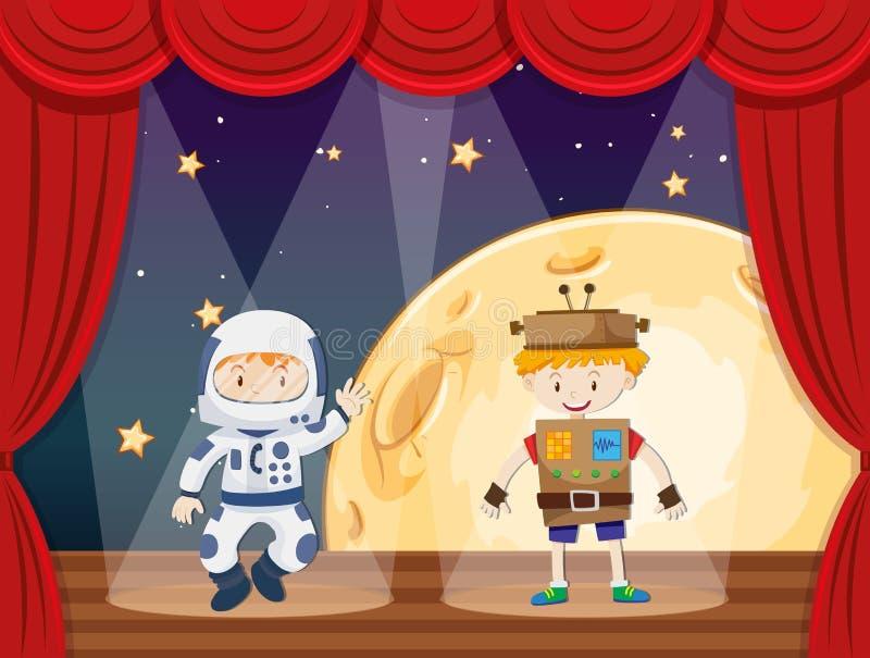Astronauta i robot na scenie ilustracja wektor