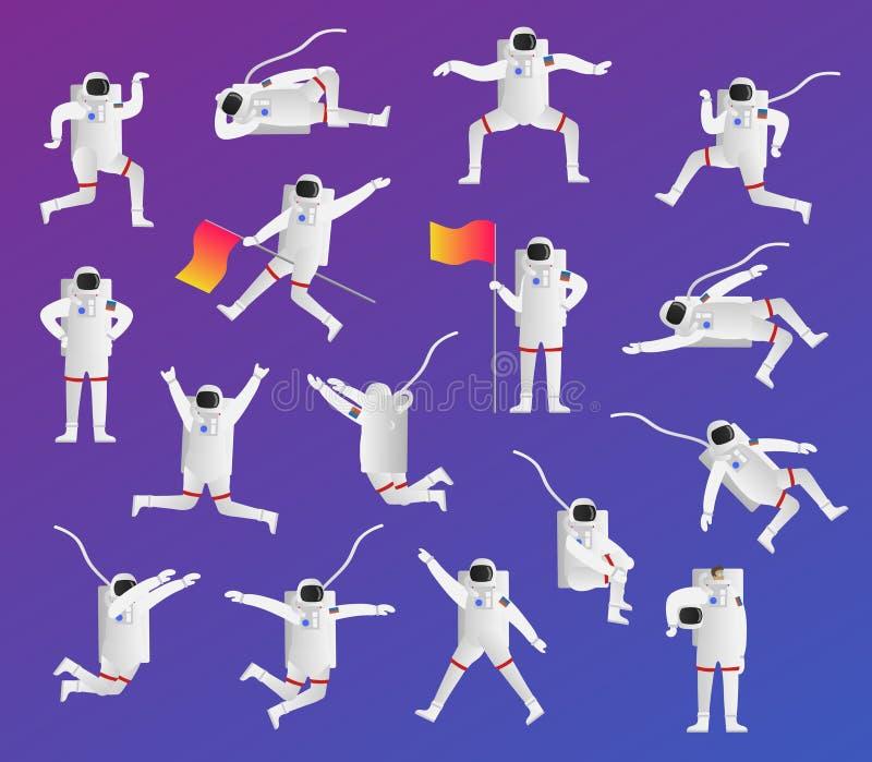Astronauta ikony kolekci wektorowy ilustracyjny set Kosmos, astronautyczny badacz i badacz w pozie z flaga latania lub pozyci ilustracja wektor