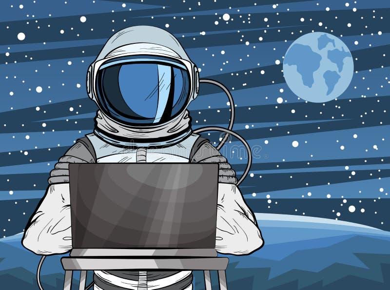 Astronauta incappucciato del pirata informatico dietro un computer portatile nello stile di Pop art Cosmonauta sulla superficie d illustrazione vettoriale