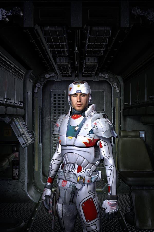 Astronauta inside i statek kosmiczny royalty ilustracja