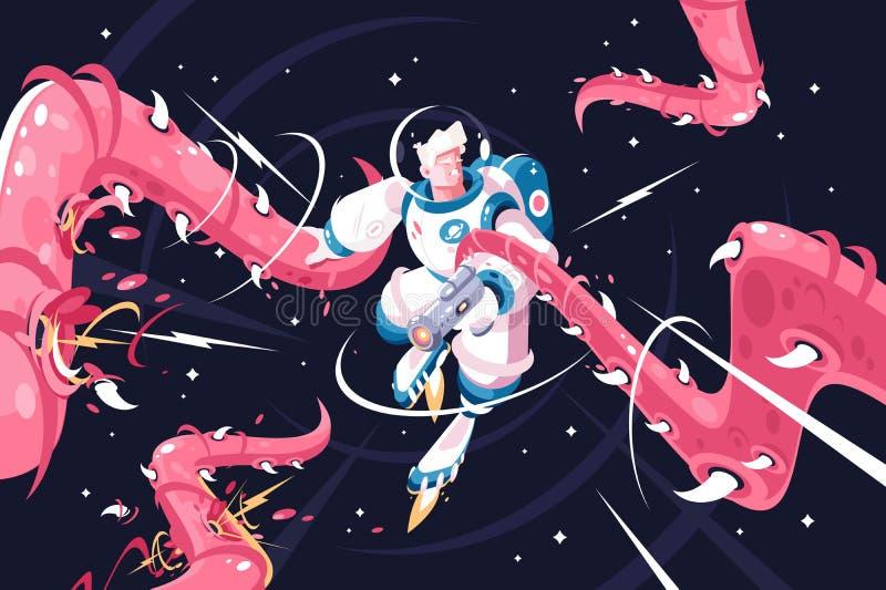Astronauta joven contra tentáculos extranjeros peligrosos ilustración del vector