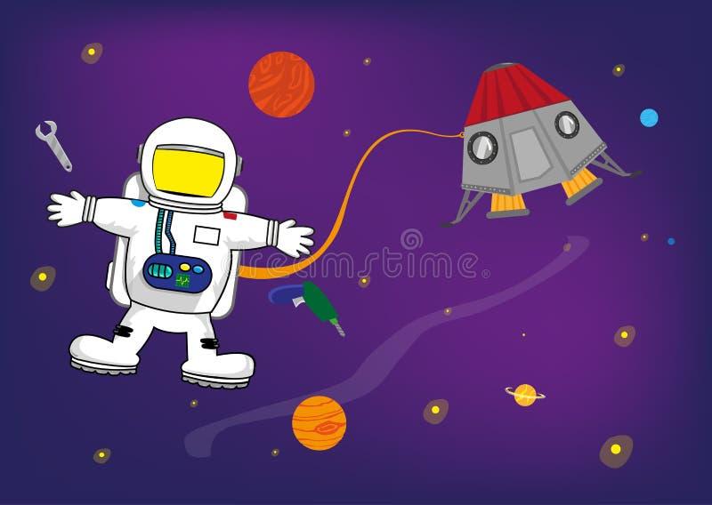 Astronauta Kid no espaço com o capacete personalizado para imagens das crianças Molde para convites e clipart das bandeiras do ev ilustração royalty free