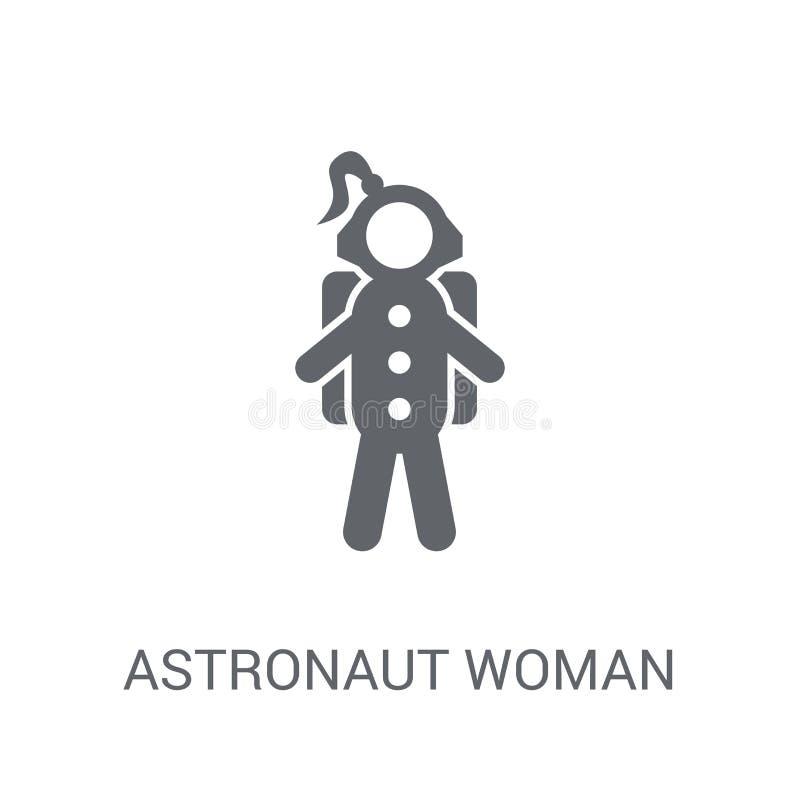 Astronauta kobiety ikona Modny astronauta kobiety logo pojęcie na whi ilustracja wektor